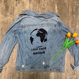 Upcycled Custom Distressed Jean Jacket